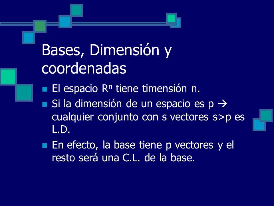 Bases, Dimensión y coordenadas El espacio R n tiene timensión n. Si la dimensión de un espacio es p cualquier conjunto con s vectores s>p es L.D. En e