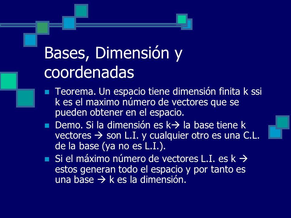 Bases, Dimensión y coordenadas Teorema. Un espacio tiene dimensión finita k ssi k es el maximo número de vectores que se pueden obtener en el espacio.