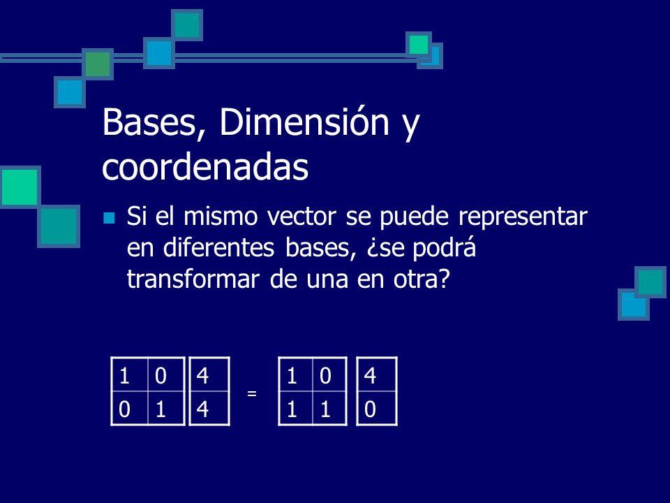 Bases, Dimensión y coordenadas Si el mismo vector se puede representar en diferentes bases, ¿se podrá transformar de una en otra? 10 01 10 11 4 4 4 0