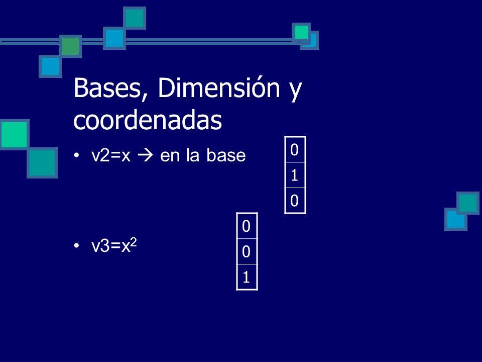 Bases, Dimensión y coordenadas v2=x en la base v3=x 2 0 1 0 0 0 1
