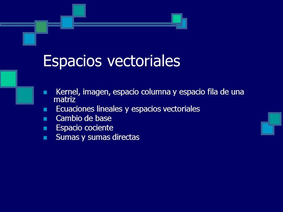Espacios vectoriales Kernel, imagen, espacio columna y espacio fila de una matriz Ecuaciones lineales y espacios vectoriales Cambio de base Espacio co