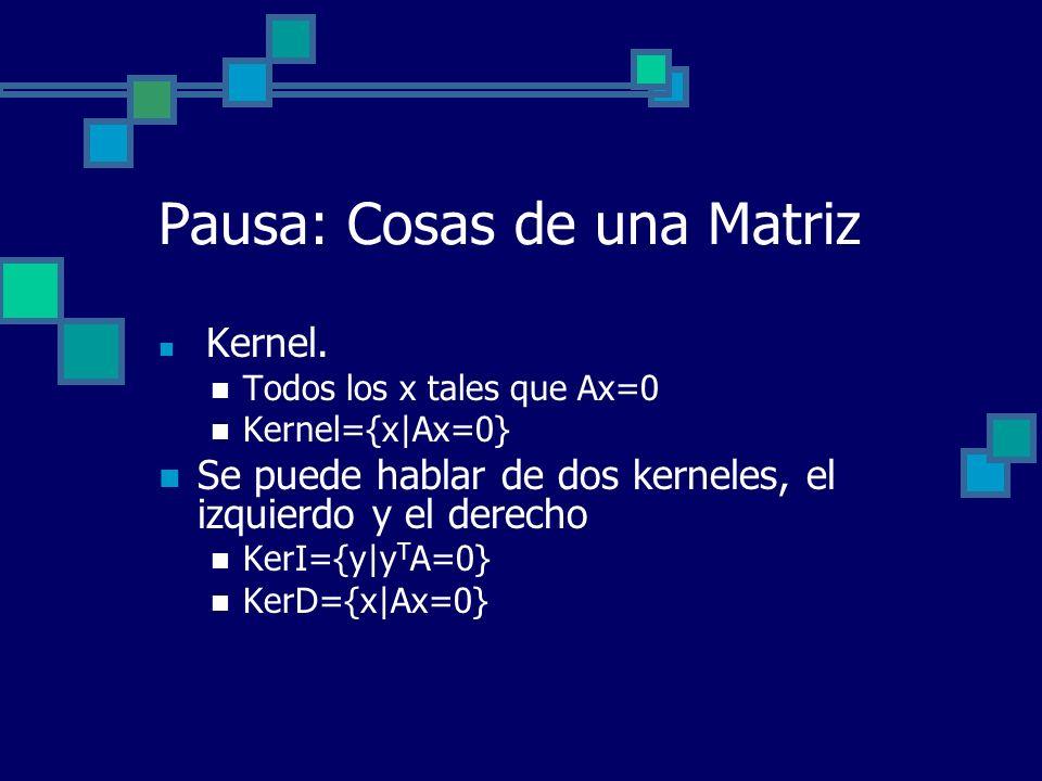 Pausa: Cosas de una Matriz Kernel. Todos los x tales que Ax=0 Kernel={x|Ax=0} Se puede hablar de dos kerneles, el izquierdo y el derecho KerI={y|y T A