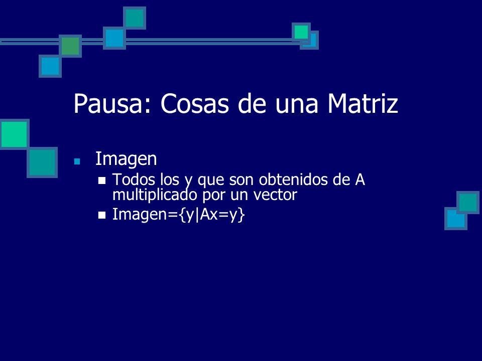 Pausa: Cosas de una Matriz Imagen Todos los y que son obtenidos de A multiplicado por un vector Imagen={y|Ax=y}