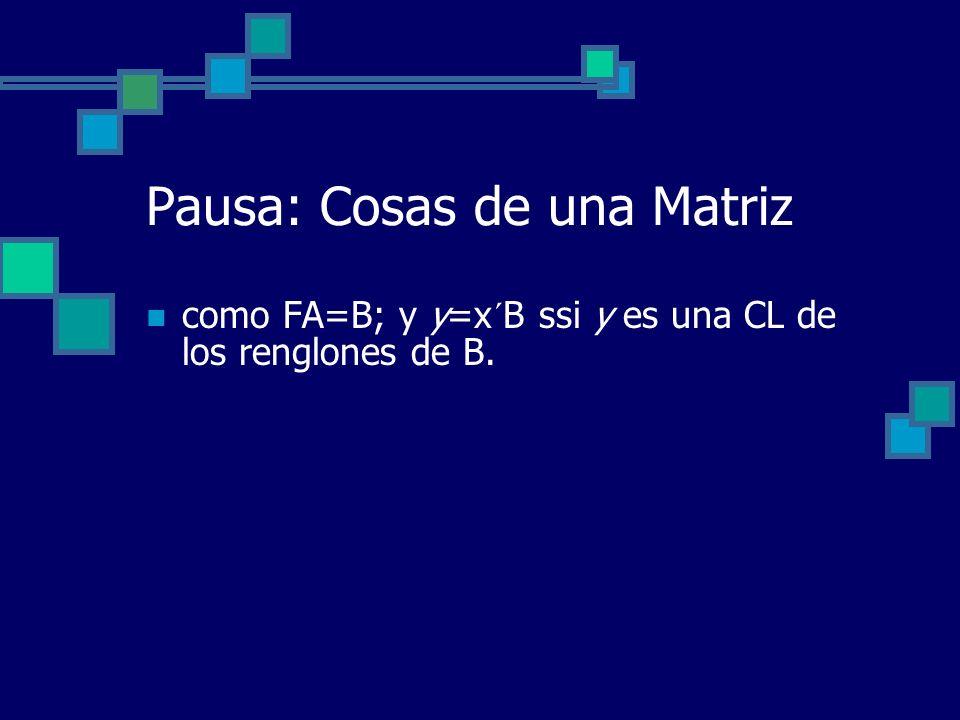 Pausa: Cosas de una Matriz como FA=B; y y=x´B ssi y es una CL de los renglones de B.