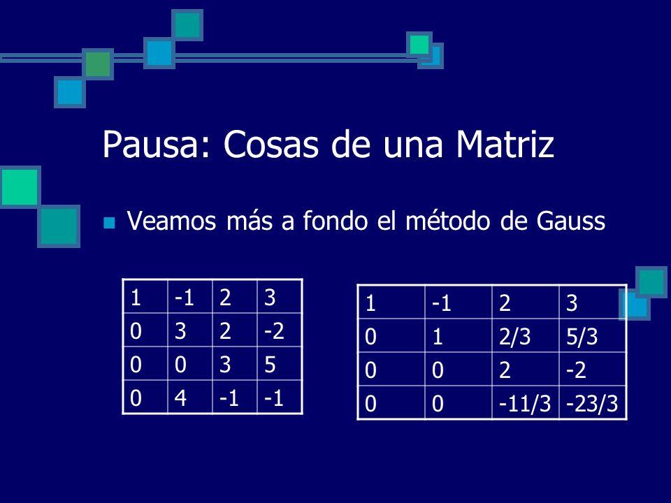 Pausa: Cosas de una Matriz Veamos más a fondo el método de Gauss 123 032-2 0035 04 1 23 012/35/3 002-2 00-11/3-23/3