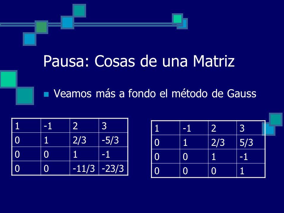 Pausa: Cosas de una Matriz Veamos más a fondo el método de Gauss 123 012/3-5/3 001 00-11/3-23/3 123 012/35/3 001 0001