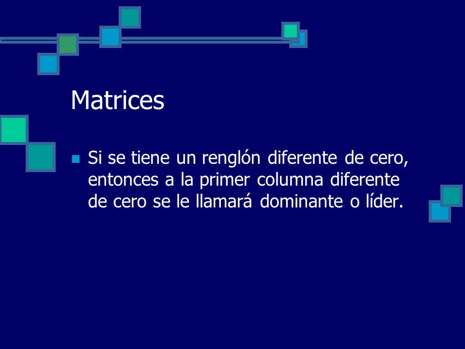 Matrices Si se tiene un renglón diferente de cero, entonces a la primer columna diferente de cero se le llamará dominante o líder.