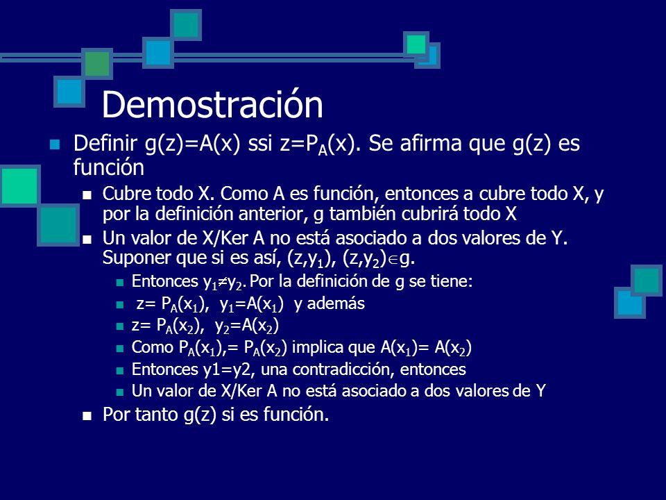 Demostración Definir g(z)=A(x) ssi z=P A (x). Se afirma que g(z) es función Cubre todo X. Como A es función, entonces a cubre todo X, y por la definic