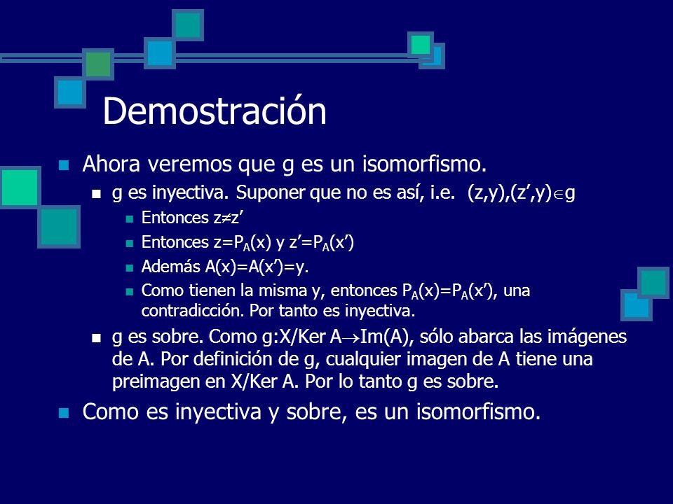 Demostración Ahora veremos que g es un isomorfismo. g es inyectiva. Suponer que no es así, i.e. (z,y),(z,y) g Entonces z z Entonces z=P A (x) y z=P A