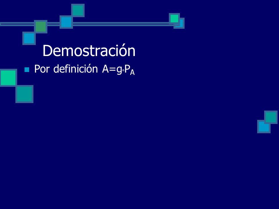Demostración Por definición A=g o P A
