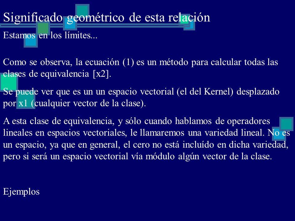 Significado geométrico de esta relación Estamos en los límites... Como se observa, la ecuación (1) es un método para calcular todas las clases de equi