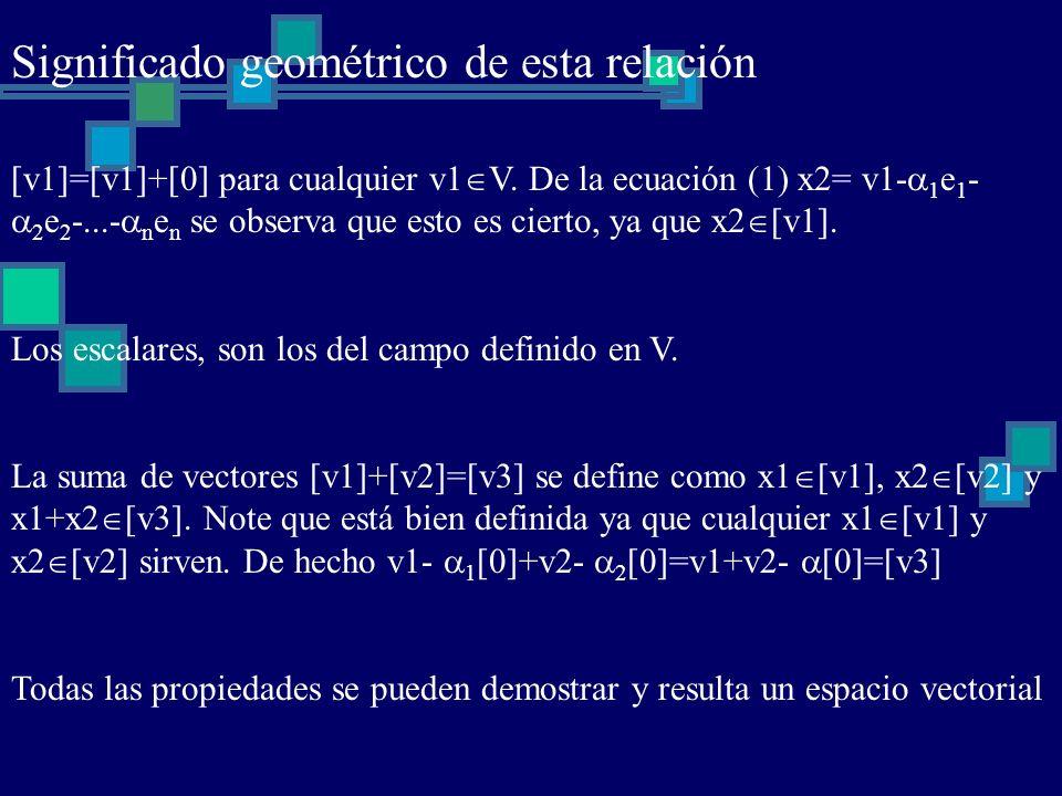 Significado geométrico de esta relación [v1]=[v1]+[0] para cualquier v1 V. De la ecuación (1) x2= v1- 1 e 1 - 2 e 2 -...- n e n se observa que esto es