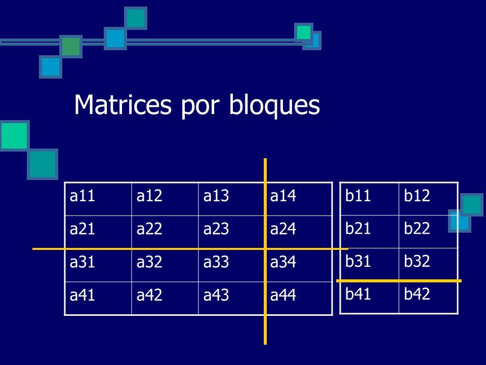 Matrices por bloques a11a12a13a14 a21a22a23a24 a31a32a33a34 a41a42a43a44 b11b12 b21b22 b31b32 b41b42