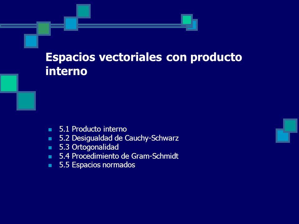 5.1 Producto interno 5.2 Desigualdad de Cauchy-Schwarz 5.3 Ortogonalidad 5.4 Procedimiento de Gram-Schmidt 5.5 Espacios normados