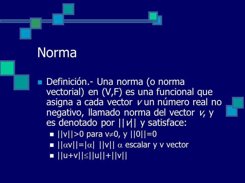 Norma Definición.- Una norma (o norma vectorial) en (V,F) es una funcional que asigna a cada vector v un número real no negativo, llamado norma del ve