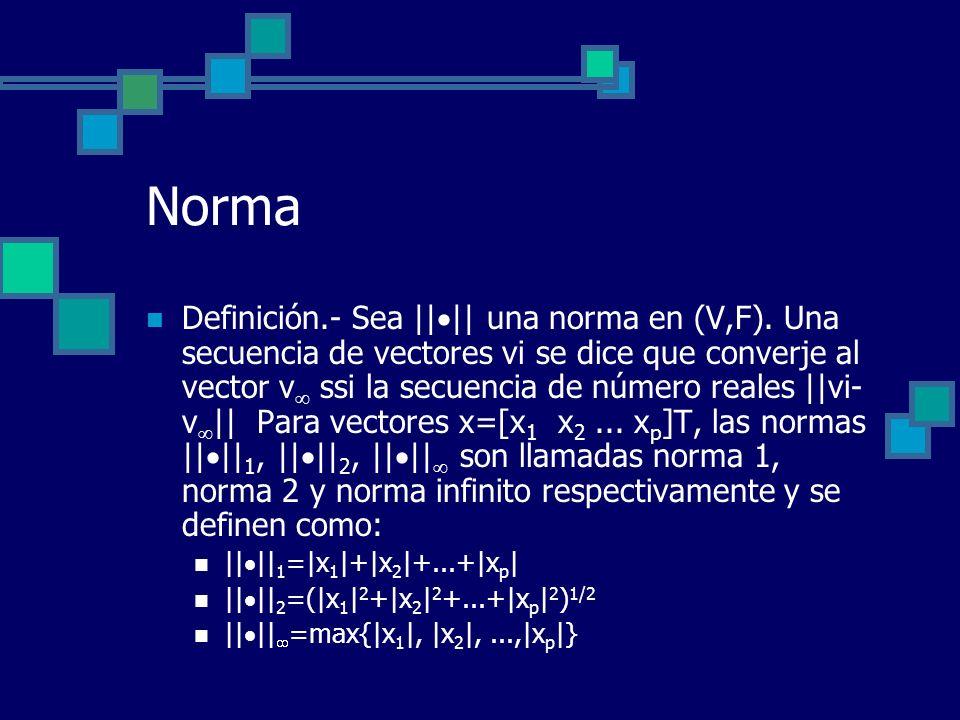 Norma Definición.- Sea || || una norma en (V,F). Una secuencia de vectores vi se dice que converje al vector v ssi la secuencia de número reales ||vi-
