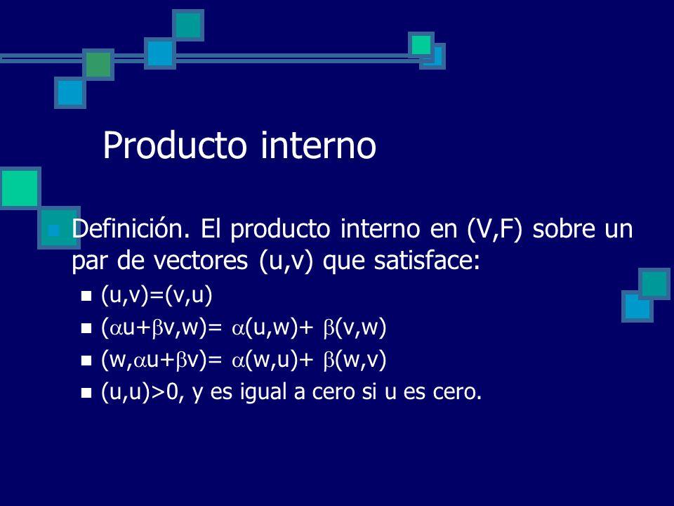 Producto interno Definición. El producto interno en (V,F) sobre un par de vectores (u,v) que satisface: (u,v)=(v,u) ( u+ v,w)= (u,w)+ (v,w) (w, u+ v)=