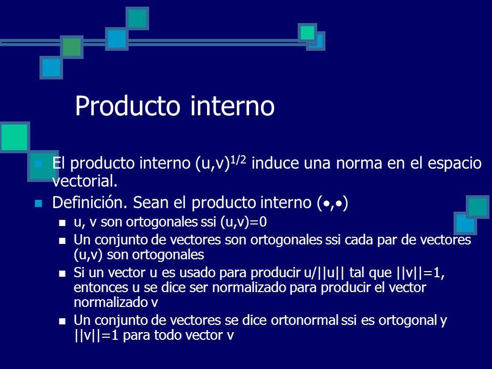 Producto interno El producto interno (u,v) 1/2 induce una norma en el espacio vectorial. Definición. Sean el producto interno (, ) u, v son ortogonale