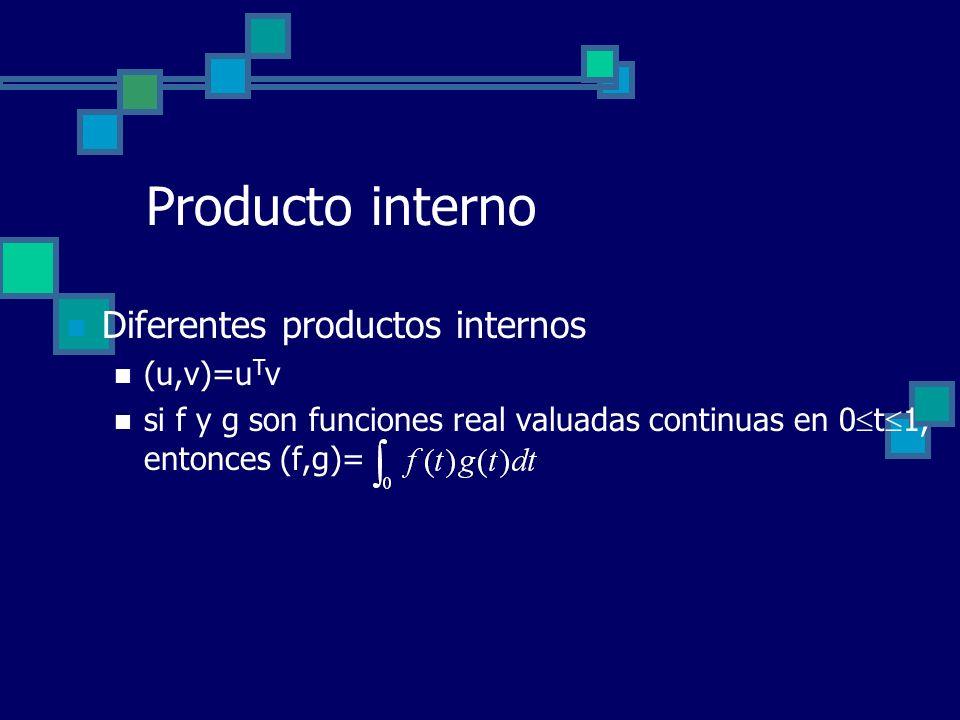 Producto interno Diferentes productos internos (u,v)=u T v si f y g son funciones real valuadas continuas en 0 t 1, entonces (f,g)=