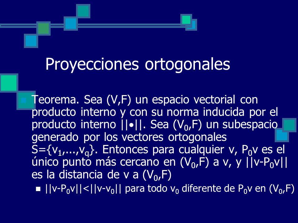 Proyecciones ortogonales Teorema. Sea (V,F) un espacio vectorial con producto interno y con su norma inducida por el producto interno || ||. Sea (V 0,