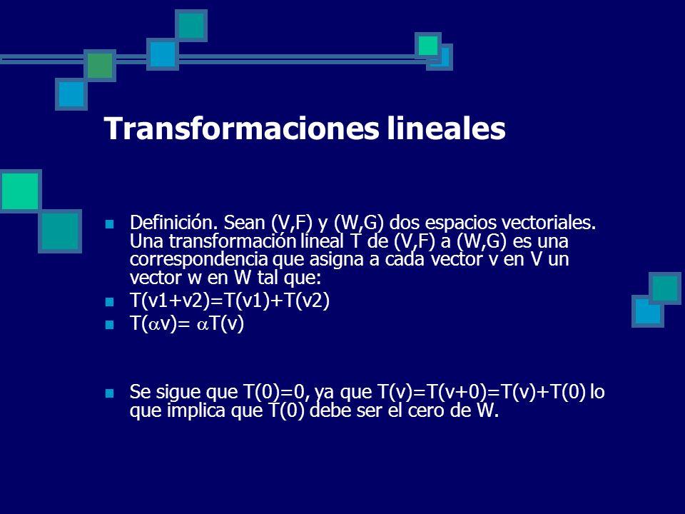 Transformaciones lineales Definición. Sean (V,F) y (W,G) dos espacios vectoriales. Una transformación lineal T de (V,F) a (W,G) es una correspondencia
