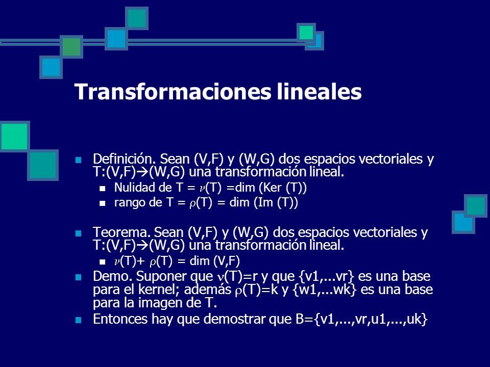 Transformaciones lineales Definición. Sean (V,F) y (W,G) dos espacios vectoriales y T:(V,F) (W,G) una transformación lineal. Nulidad de T = (T) =dim (