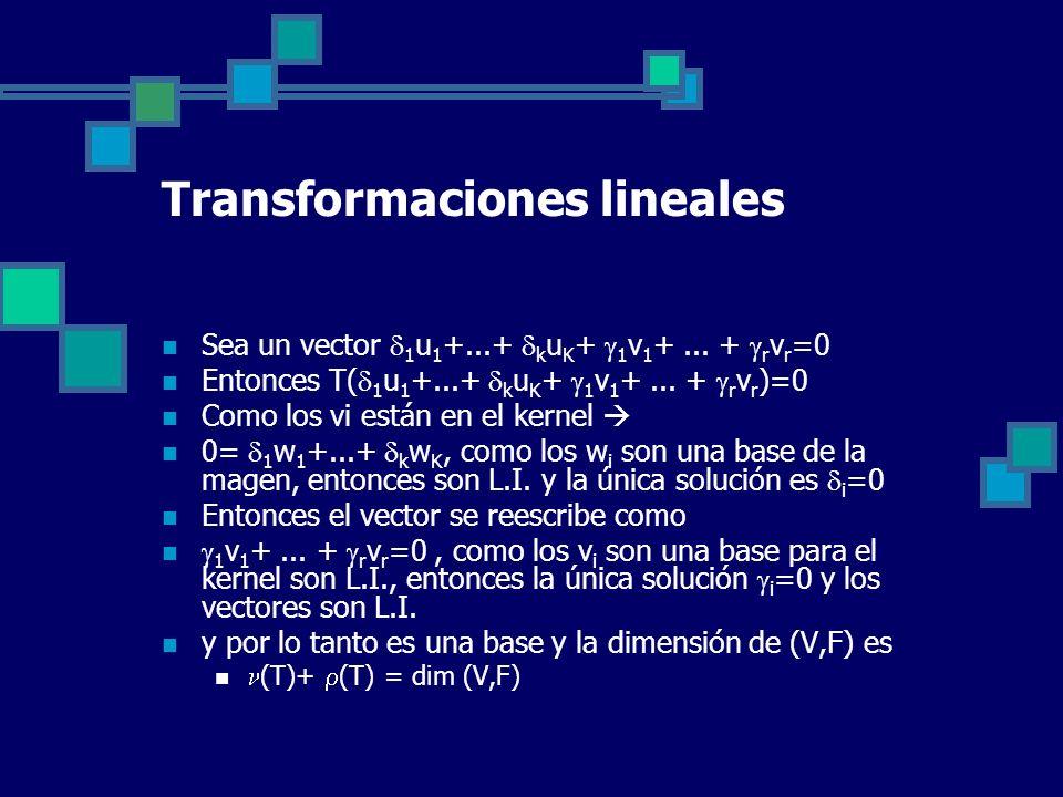 Transformaciones lineales Sea un vector 1 u 1 +...+ k u K + 1 v 1 +... + r v r =0 Entonces T( 1 u 1 +...+ k u K + 1 v 1 +... + r v r )=0 Como los vi e