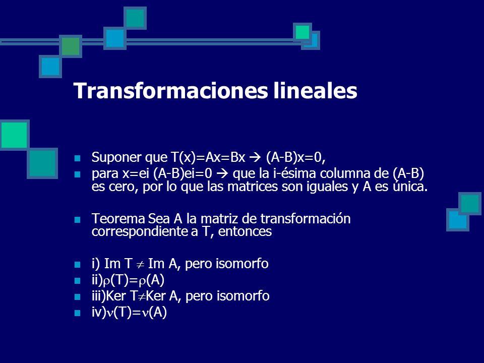 Transformaciones lineales Suponer que T(x)=Ax=Bx (A-B)x=0, para x=ei (A-B)ei=0 que la i-ésima columna de (A-B) es cero, por lo que las matrices son ig