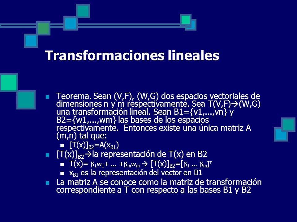 Transformaciones lineales Teorema. Sean (V,F), (W,G) dos espacios vectoriales de dimensiones n y m respectivamente. Sea T(V,F) (W,G) una transformació
