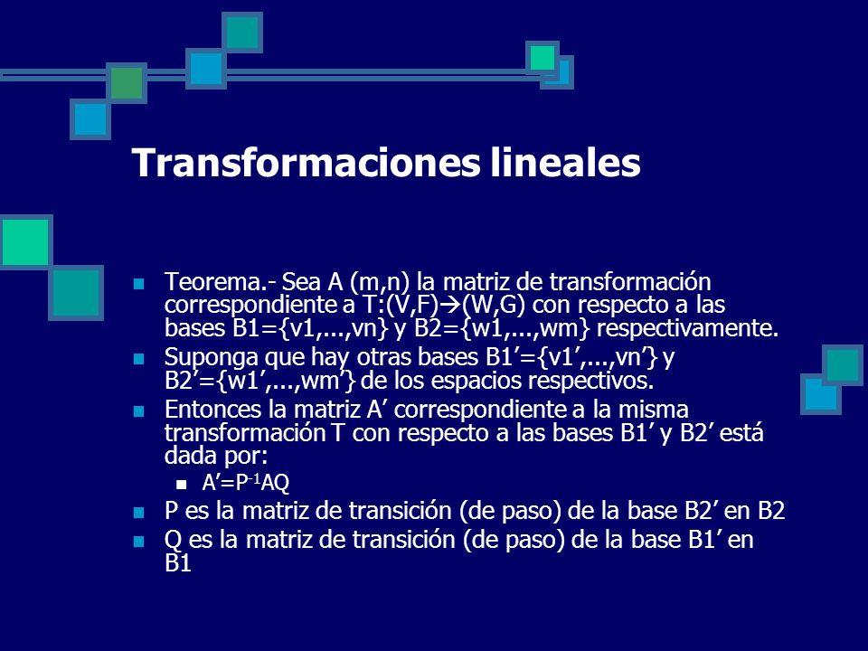 Transformaciones lineales Teorema.- Sea A (m,n) la matriz de transformación correspondiente a T:(V,F) (W,G) con respecto a las bases B1={v1,...,vn} y