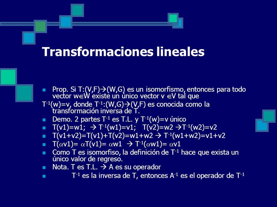 Transformaciones lineales Prop. Si T:(V,F) (W,G) es un isomorfismo, entonces para todo vector w W existe un único vector v V tal que T -1 (w)=v, donde