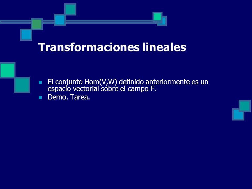 Transformaciones lineales El conjunto Hom(V,W) definido anteriormente es un espacio vectorial sobre el campo F. Demo. Tarea.