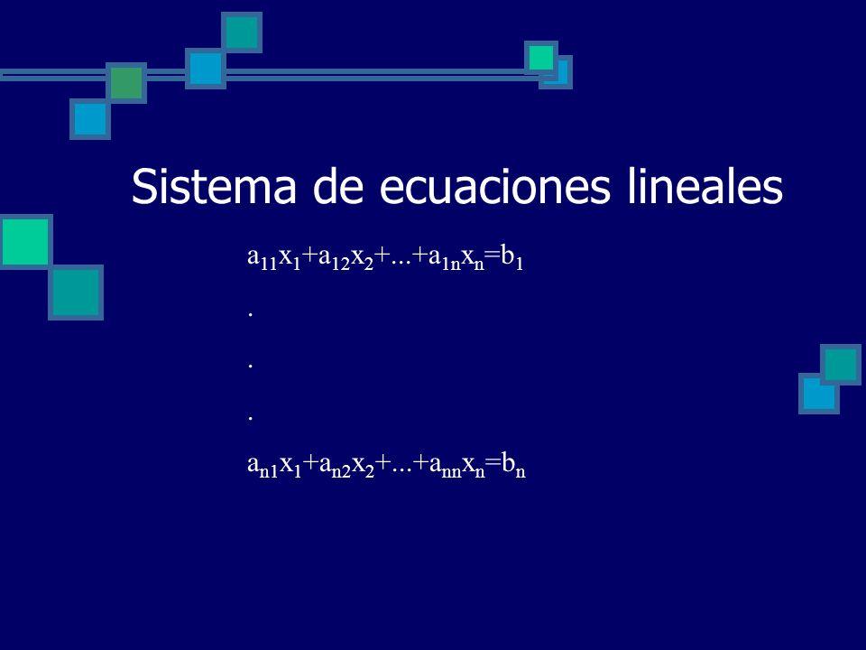 Sistema de ecuaciones lineales a 11 x 1 +a 12 x 2 +...+a 1n x n =b 1. a n1 x 1 +a n2 x 2 +...+a nn x n =b n