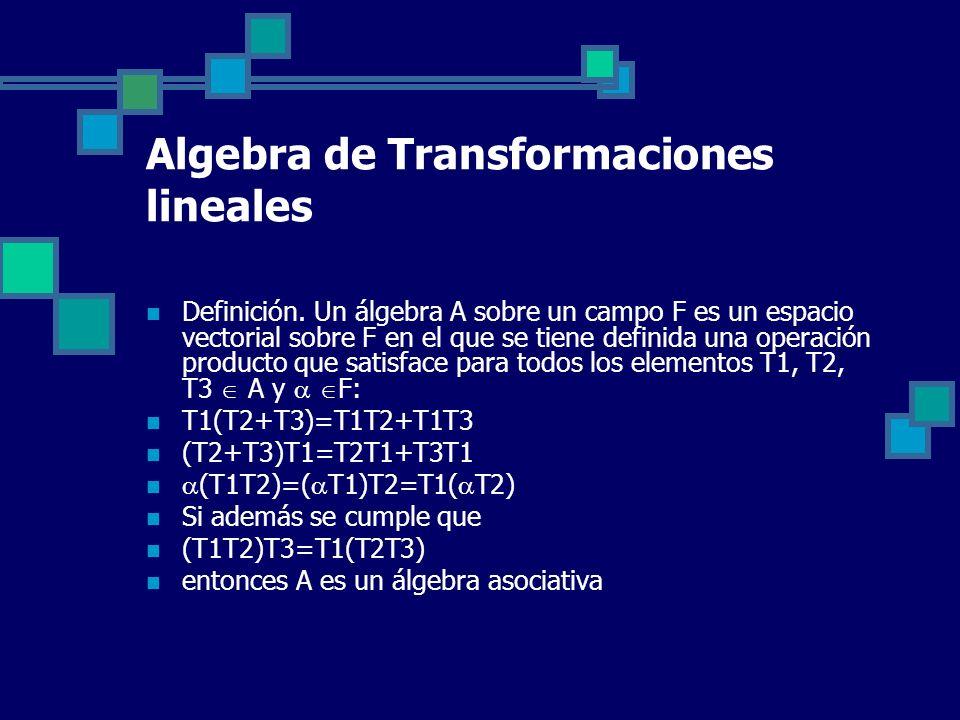 Algebra de Transformaciones lineales Definición. Un álgebra A sobre un campo F es un espacio vectorial sobre F en el que se tiene definida una operaci