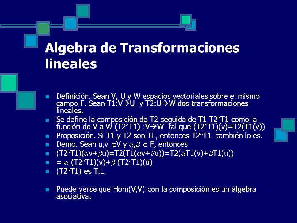Algebra de Transformaciones lineales Definición. Sean V, U y W espacios vectoriales sobre el mismo campo F. Sean T1:V U y T2:U W dos transformaciones