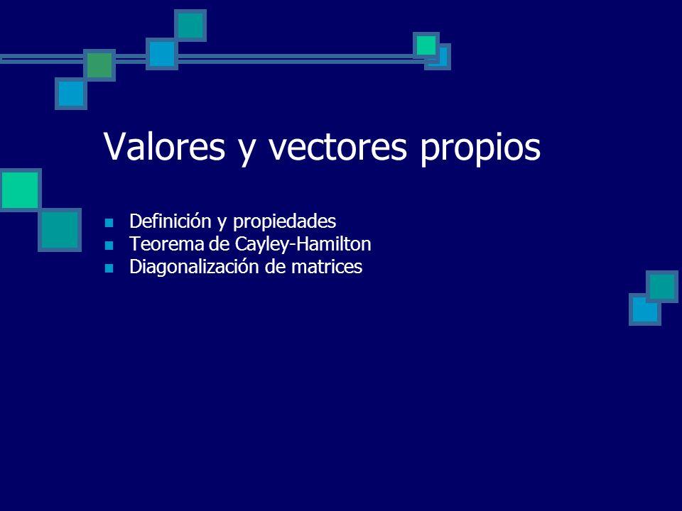 Valores y vectores propios Definición y propiedades Teorema de Cayley-Hamilton Diagonalización de matrices