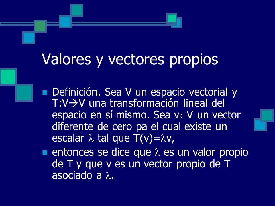 Valores y vectores propios Definición. Sea V un espacio vectorial y T:V V una transformación lineal del espacio en sí mismo. Sea v V un vector diferen