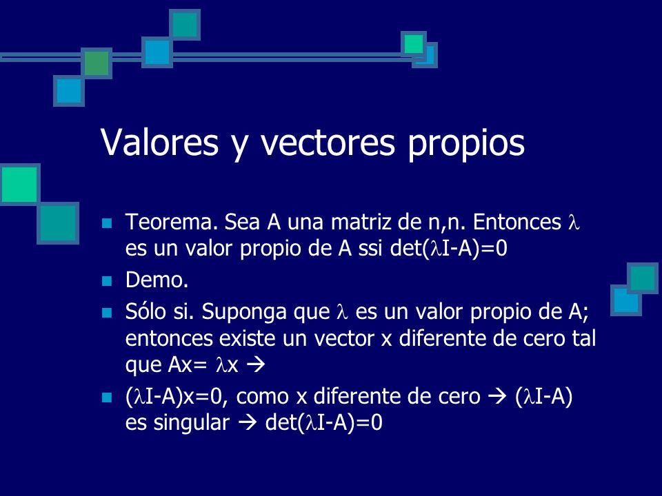Valores y vectores propios Teorema. Sea A una matriz de n,n. Entonces es un valor propio de A ssi det( I-A)=0 Demo. Sólo si. Suponga que es un valor p