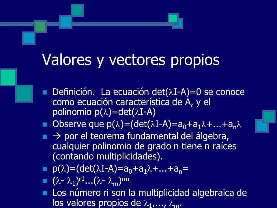 Valores y vectores propios Definición. La ecuación det( I-A)=0 se conoce como ecuación característica de A, y el polinomio p( )=det( I-A) Observe que