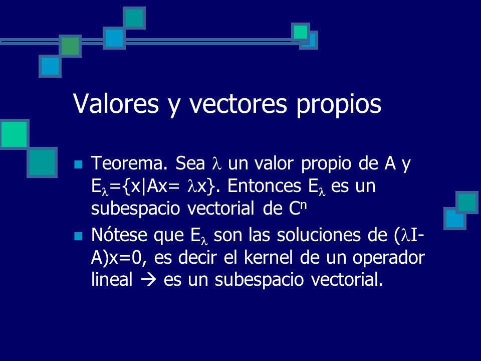 Valores y vectores propios Teorema. Sea un valor propio de A y E ={x|Ax= x}. Entonces E es un subespacio vectorial de C n Nótese que E son las solucio