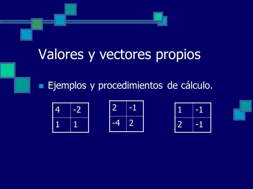 Valores y vectores propios Ejemplos y procedimientos de cálculo. 4-2 11 2 -42 1 2