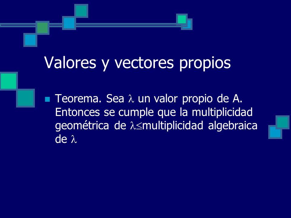 Valores y vectores propios Teorema. Sea un valor propio de A. Entonces se cumple que la multiplicidad geométrica de multiplicidad algebraica de