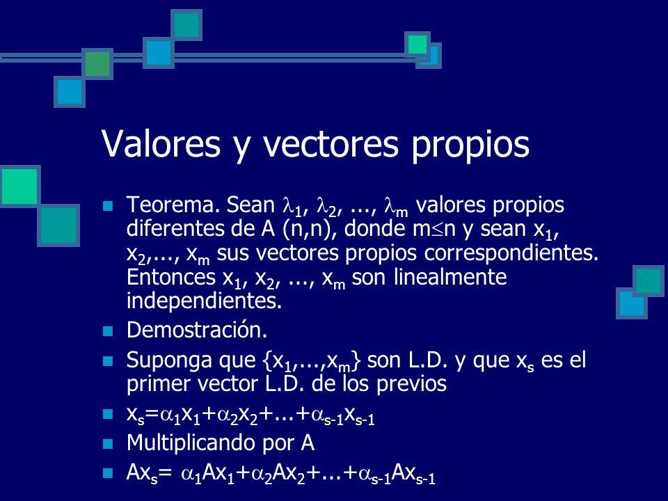 Valores y vectores propios Teorema. Sean 1, 2,..., m valores propios diferentes de A (n,n), donde m n y sean x 1, x 2,..., x m sus vectores propios co