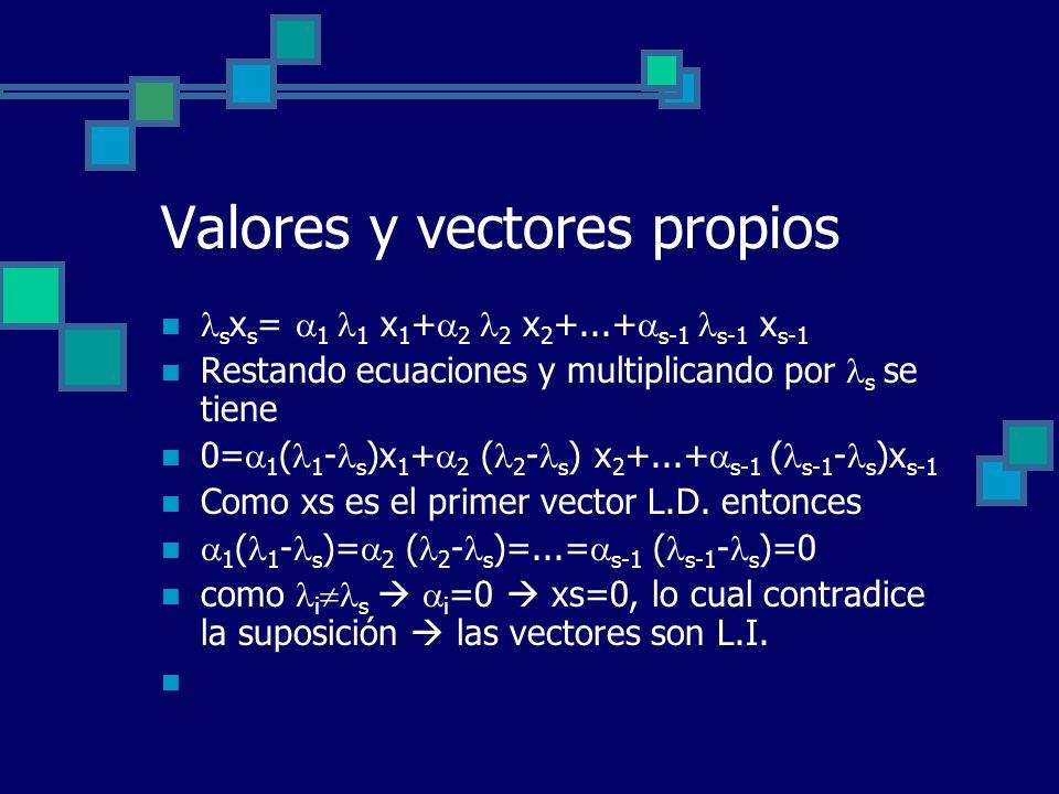 Valores y vectores propios s x s = 1 1 x 1 + 2 2 x 2 +...+ s-1 s-1 x s-1 Restando ecuaciones y multiplicando por s se tiene 0= 1 ( 1 - s )x 1 + 2 ( 2