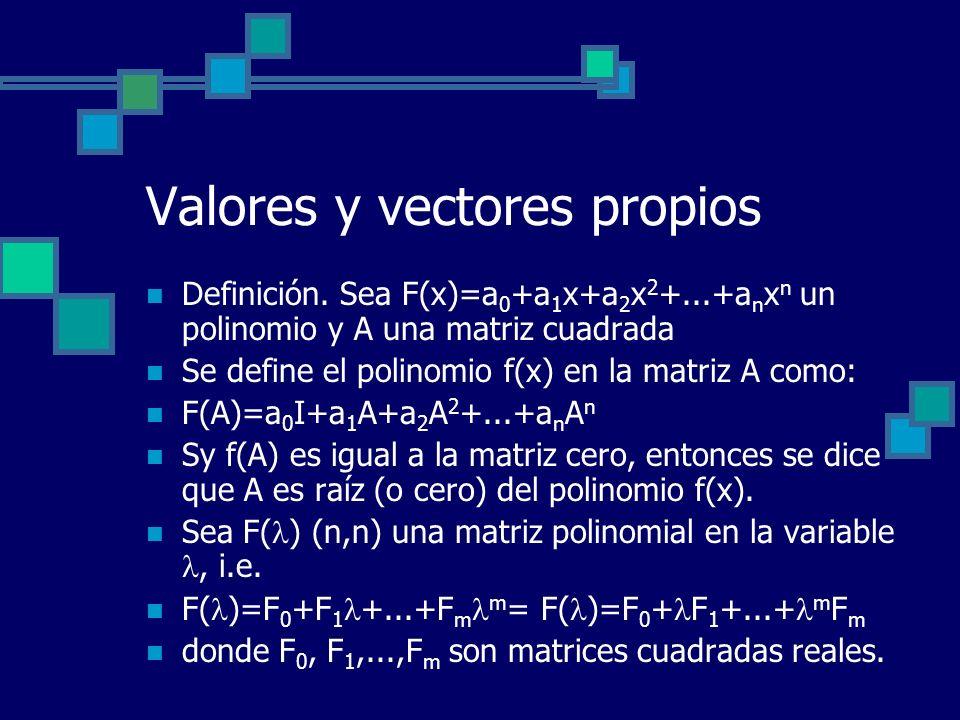 Valores y vectores propios Definición. Sea F(x)=a 0 +a 1 x+a 2 x 2 +...+a n x n un polinomio y A una matriz cuadrada Se define el polinomio f(x) en la