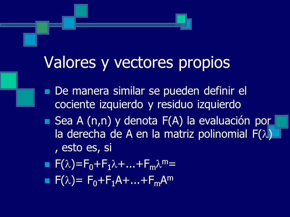 Valores y vectores propios De manera similar se pueden definir el cociente izquierdo y residuo izquierdo Sea A (n,n) y denota F(A) la evaluación por l