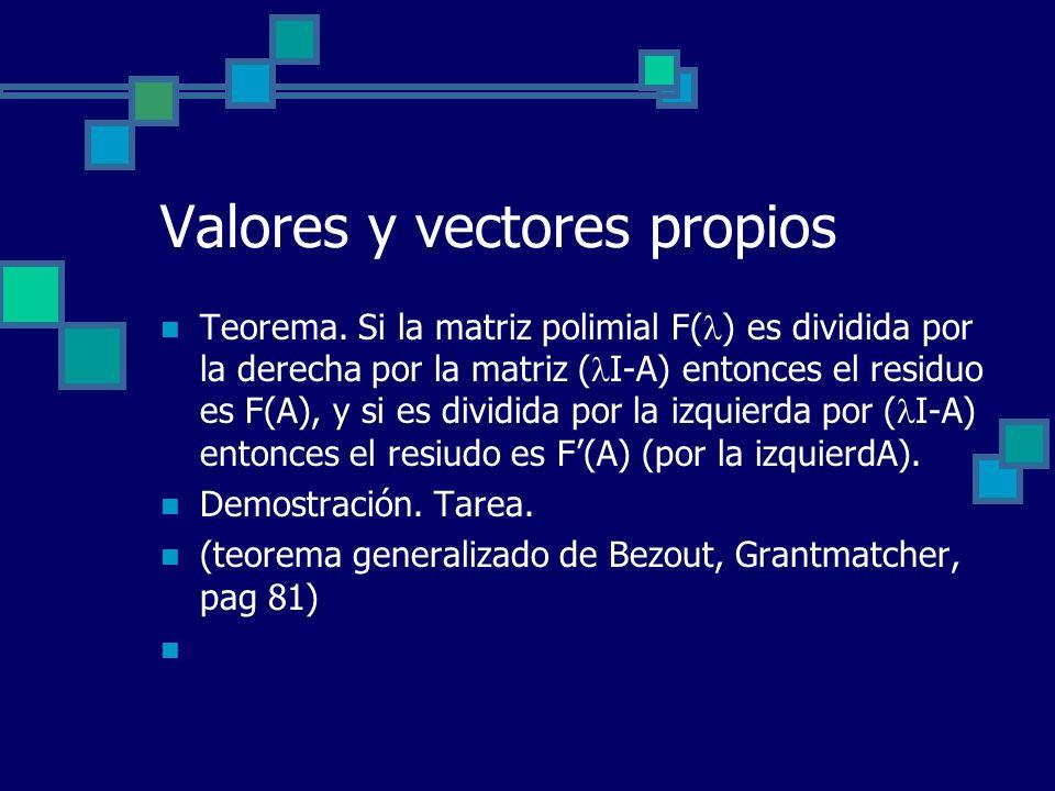 Valores y vectores propios Teorema. Si la matriz polimial F( ) es dividida por la derecha por la matriz ( I-A) entonces el residuo es F(A), y si es di