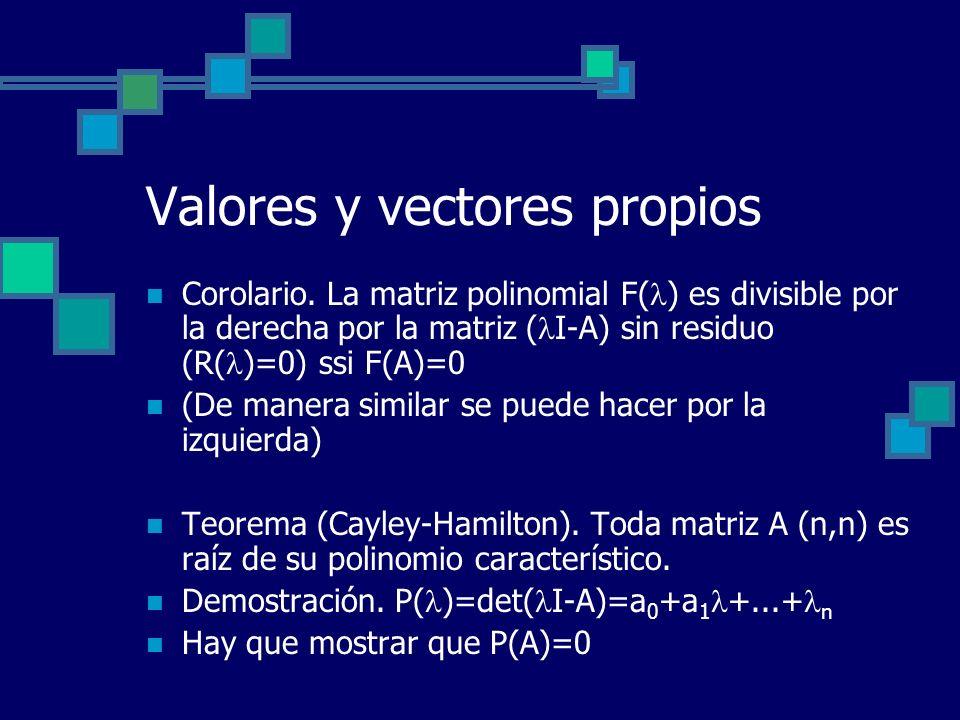 Valores y vectores propios Corolario. La matriz polinomial F( ) es divisible por la derecha por la matriz ( I-A) sin residuo (R( )=0) ssi F(A)=0 (De m