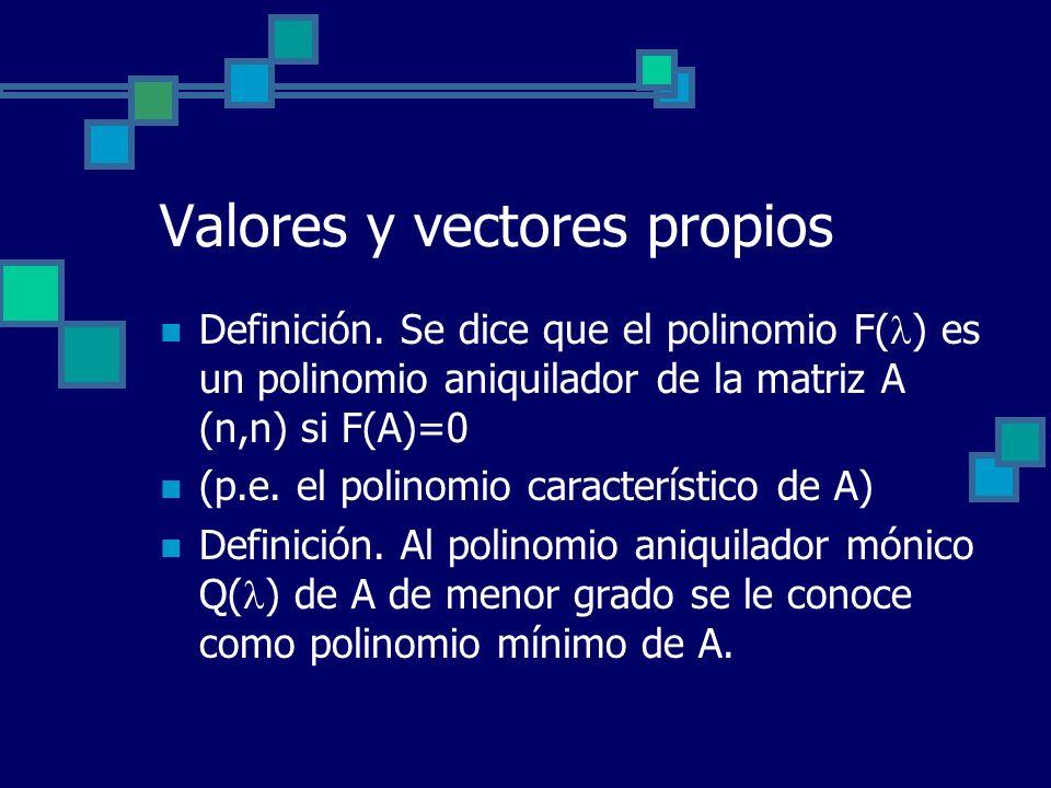 Valores y vectores propios Definición. Se dice que el polinomio F( ) es un polinomio aniquilador de la matriz A (n,n) si F(A)=0 (p.e. el polinomio car
