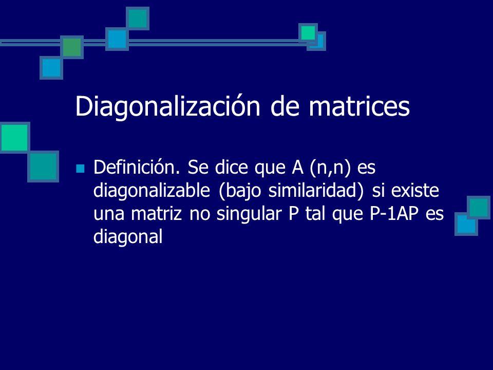 Diagonalización de matrices Definición. Se dice que A (n,n) es diagonalizable (bajo similaridad) si existe una matriz no singular P tal que P-1AP es d